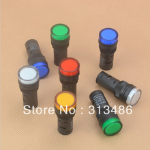 16mm signal led Indicator light blue green red,white yellow pilot lamp 220V(China (Mainland))