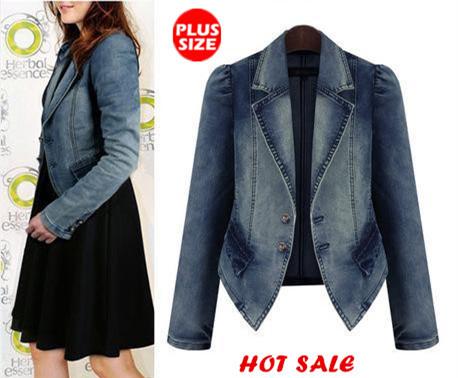 Women Plus Size Jeans jacket 2015 New Sumer Style Classic Washed Long Sleeve Denim Jacket Coat Free Shipping(China (Mainland))
