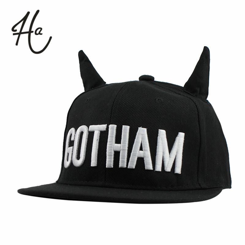 New 2015 Fashion Men Womens Bones Gorras Snapbacks GOTHAM Little Devil Horns Ears Hip Hop Cap Casual Baseball Caps Female Hats(China (Mainland))