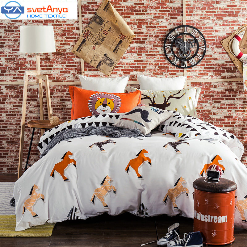 Svetanya cartoon style horses print white bedding set 800TC sanding cotton Queen/King Size duvet cover+flat sheet+pillowcases(China (Mainland))