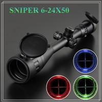 SNIPER Hunting Gunsight Scope 6-24x50 AOE Illuminated Rifle scope Mil-dot Tactical Red & Green Hunting Optics LLL Night Vision