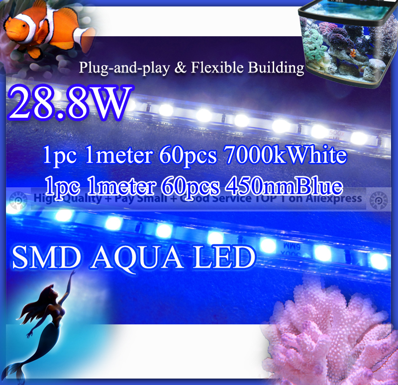 28.8w 2pcs per lot, 1 450nmBlue + 1 7000kWhite SMD Strip Aqua Light, flexible led aquarium light for coral reef fish tank(China (Mainland))