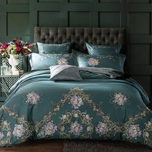Egyptian Cotton Luxury Royal Bedding Set 4/6Pcs King Queen Size Bed cover Tribute silk Bed Sheet set Duvet cover parrure de lit(China)