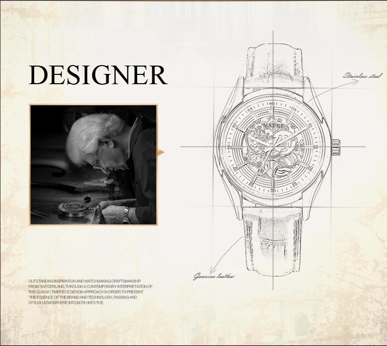 Новый Роскошный мужской Механические часы Скелет Военная Спортивные Часы Мужчины Золото Hollow Гравировка Элегантный Ремень Из Натуральной Кожи часы
