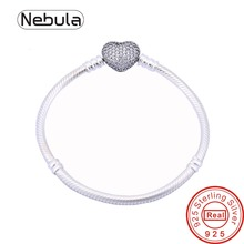 Authentic 925 Sterling Silver Charm Bracelet with heart CZ Clasp Original Snake Chain DIY Jewelry beads Fits Bracelet(China (Mainland))