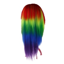 Hot Cosplay Pelucas Rainbow My Little Dash Multi Color Synthetic Party Wigs #49414(China (Mainland))