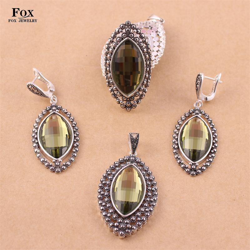 Free shipping High Quality Women Jewelry sets 925 Thai Silver Olive Zircon Crystal Earrings Rings Necklaces Pendants 0737T17<br><br>Aliexpress