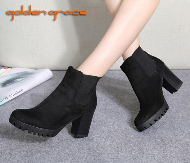 2016 Zapato мода зима осень ботинки женщин платформы квадратный каблук краска кожаные ...