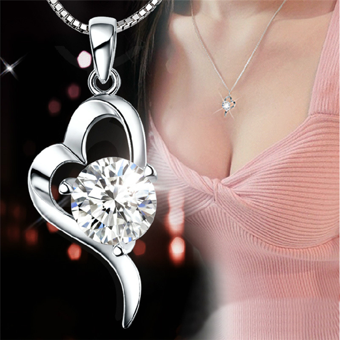 Promotion 925 Sterling Silver Necklaces Pendants Women Heart Rhinestone CZ Diamond Crystal Wedding Jewelry colares femininos(China (Mainland))