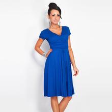 Buy Sexy Dress Flare Hem Draped 2017 Summer Dress Women Short Sleeve V-Neck Cross High Waist Fold Midi Dress Party Dresses Plus Size for $12.22 in AliExpress store