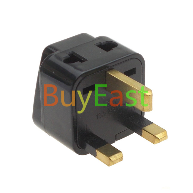 Pack 2 UK British Travel Adapter Type G, 2 Outlet AC Plug Convert EU/US/AU/China/Japan...Plug Black Color(China (Mainland))