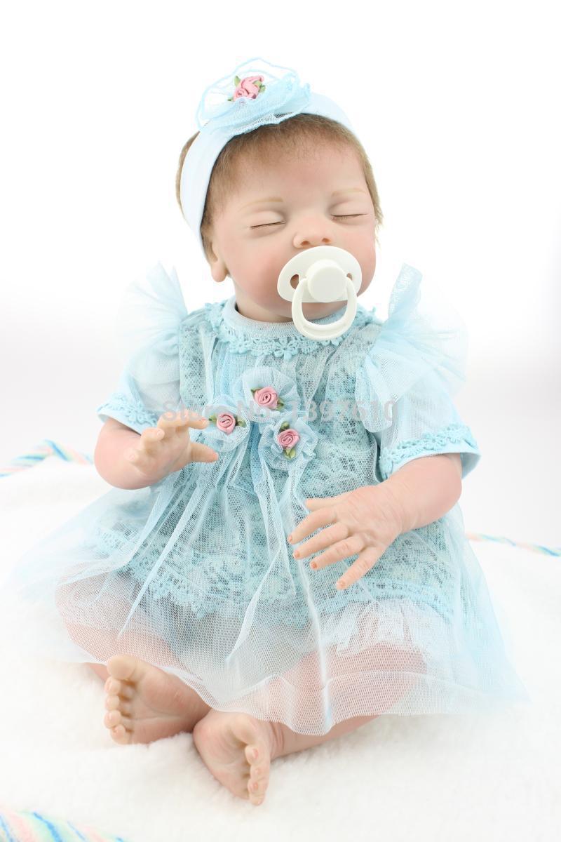 20inch Realistic Silicone Vinyl Reborn Baby Dolls Sleeping Newborn Baby Doll Lifelike Baby Alive Toys Girls Gift Free Shipping