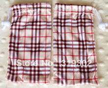 WHOLESALE 17*9cm Plaid Microfiber Bag Eyewear frames sunglasses reading glasses lenses Grid soft pouches Cloth covers pack(China (Mainland))