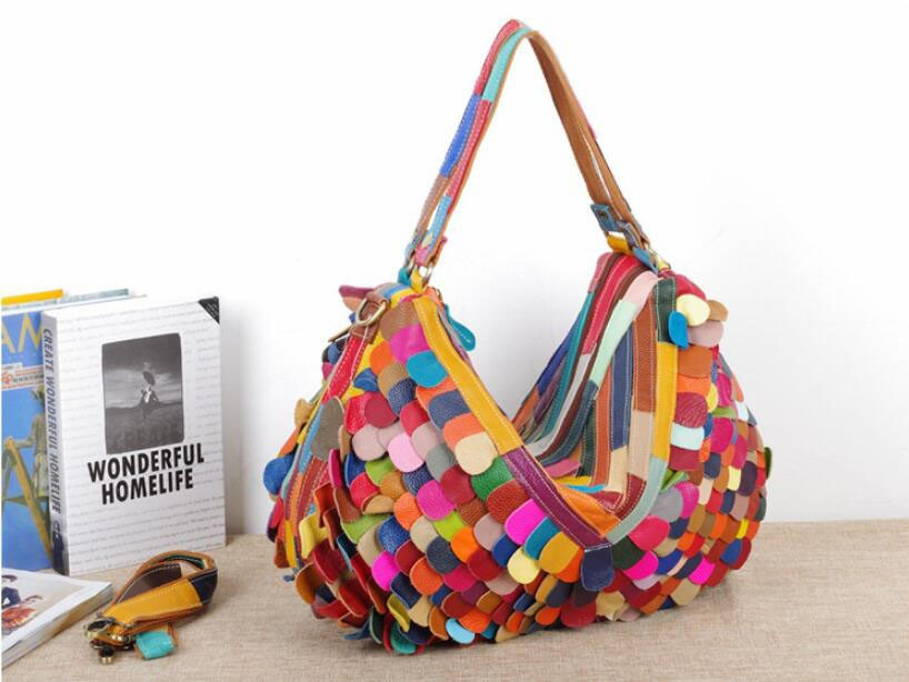 Charming Colorful Patchwork Fashion High Quality Real Leather Brand Designer  Satchel Handbags Tote Bag Purse for Women Free Shipping bf2893b94cdb4