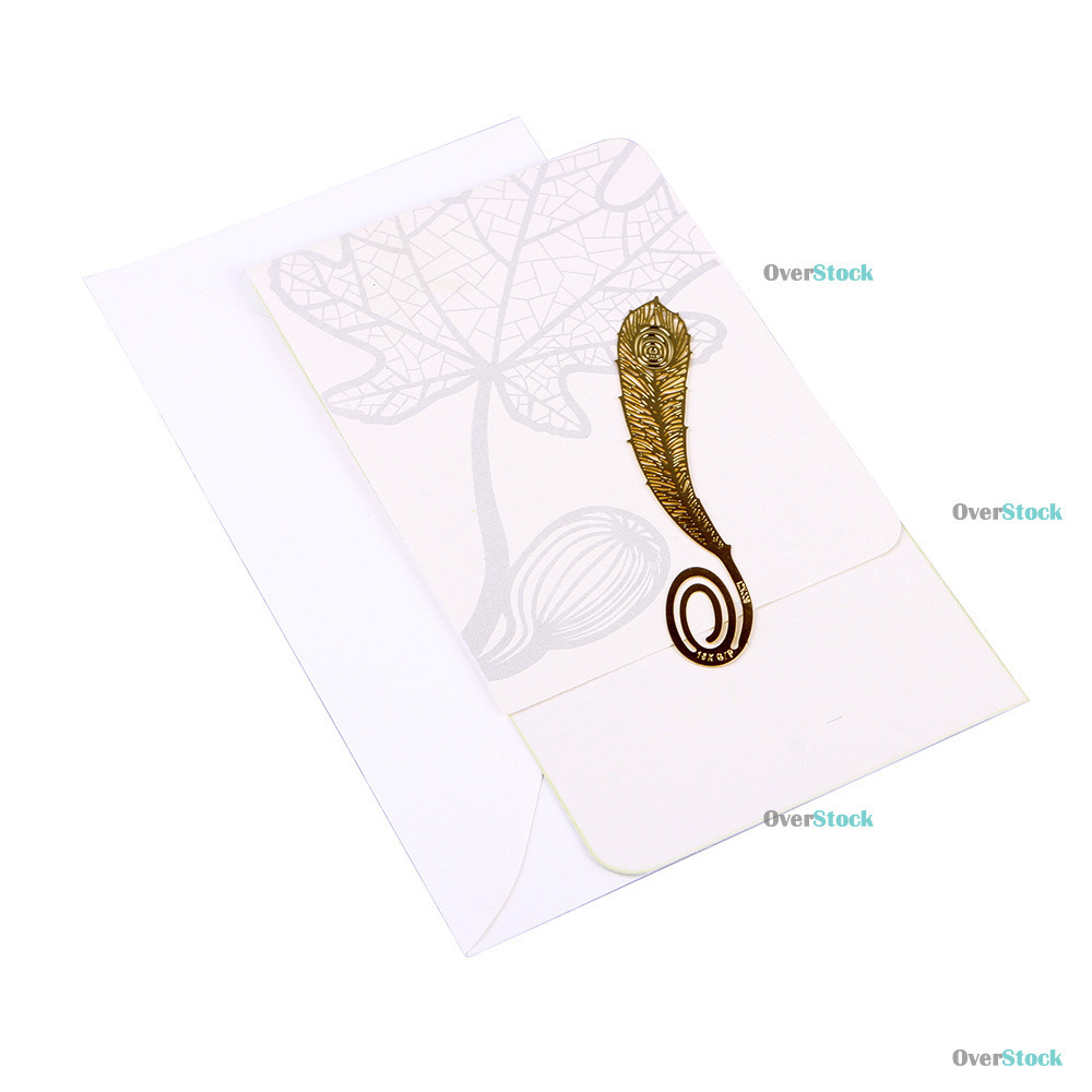 LauraDeal Big saving 18K Gold Gorgeous Feather Metal Clip Bookmark Book Marks Gift Newly!!(China (Mainland))