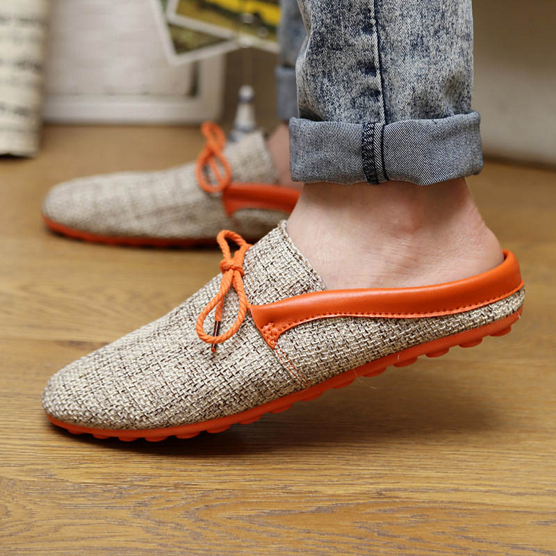Men Fashion Summer Breathable Hemp Linen Knitted Home Slippers Casual Half Pantufa Slippers Flats(China (Mainland))