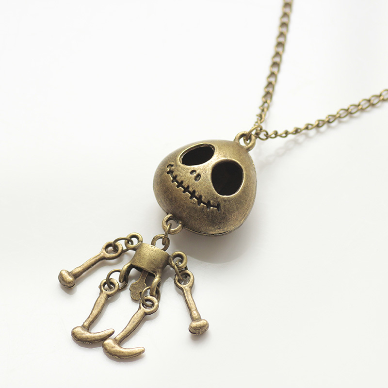 Fashion Big Eyes UFO Alien Skull Head Jointed Hollow Movable Body Long Sweater Chain Necklaces for Woman (12 pcs/lot) #119 N157(China (Mainland))