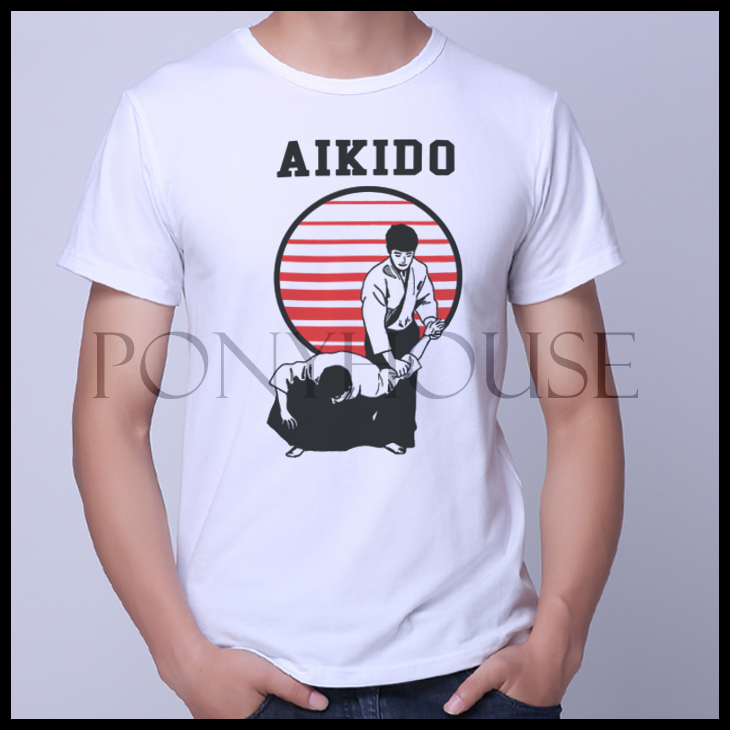 The new 2015D PKY AIKIDO leisure patterns popular martial arts Aikido T-shirt short sleeve male(China (Mainland))