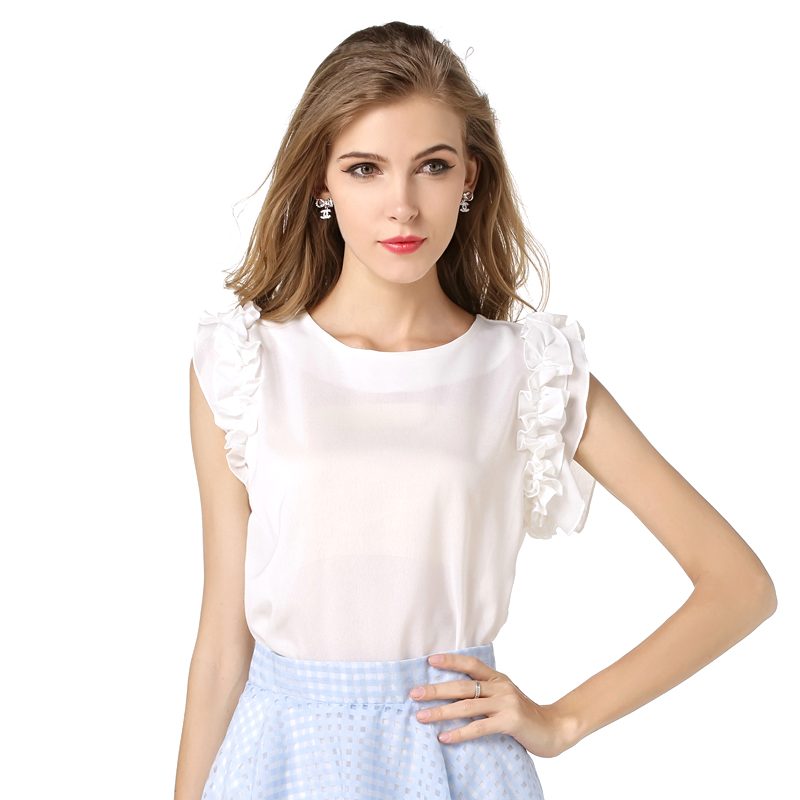 The Western fashion design women petal sleeve blouses pure color o-neck chiffon shirts vogue ladies summer dress free shipping(China (Mainland))