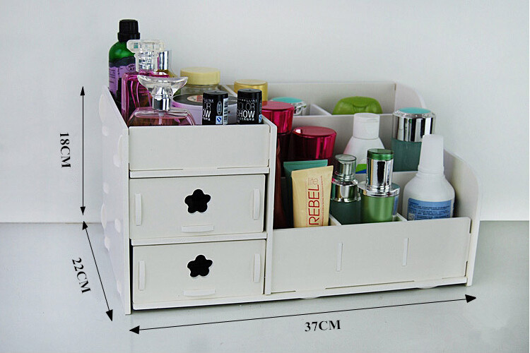 Plastic Makeup Organizer Box Desktop Storage Rack Storage Box PVC Carved Skincare Cosmetic Dust And Waterproof Wooden White Rack