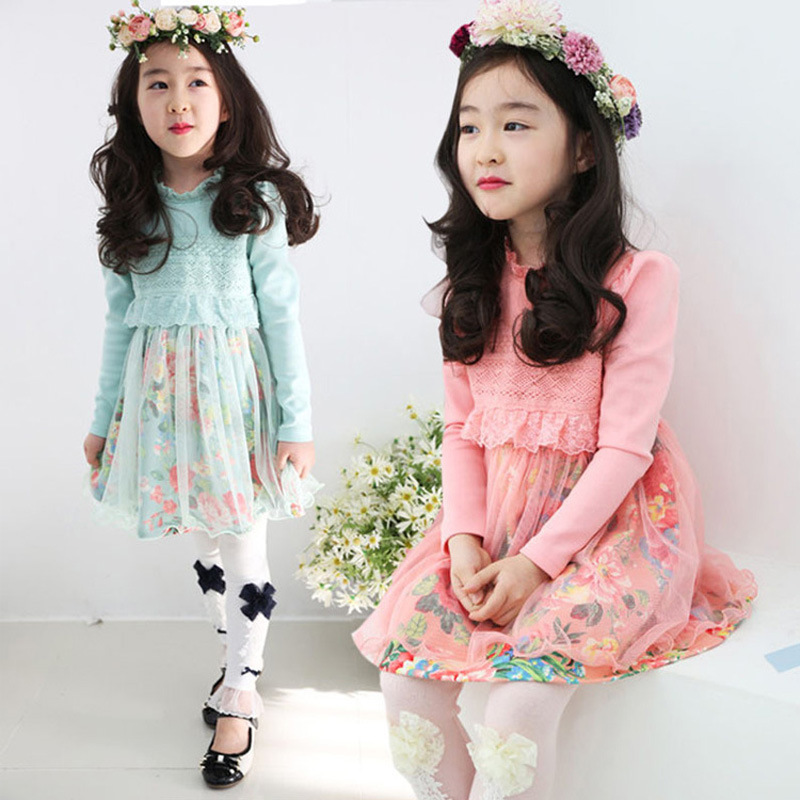 2015 Autumn Girls Long Sleeve Dress Lace Infant Princess Dress Kids Frock Designs Baby Girls Dress Designs Toddler Clothing(China (Mainland))