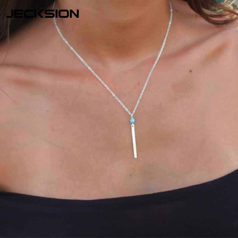 JECKSION 2015 Popular Fashoin Womens Girls Necklace 2Colors Gold Sliver Geometric Rectangle Metal Bang Bang Alloy Necklace Chain(China (Mainland))