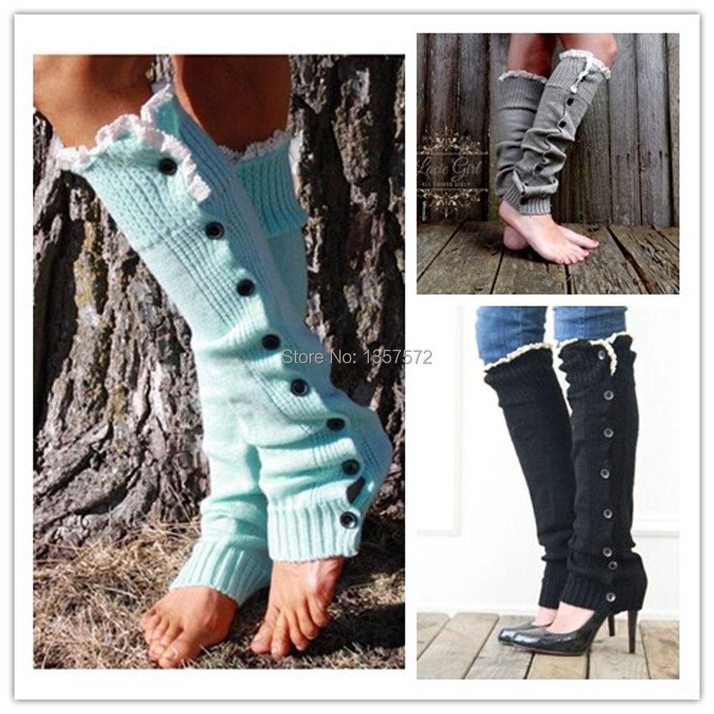 Женщины вязание крючком кружева пуговицах коса вязать гетры загрузки колено высокие носки высота 0jZ