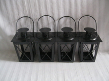 Cheap 4PCS/LOT Metal candle holder Small Iron lantern Black Color/White Color(China (Mainland))