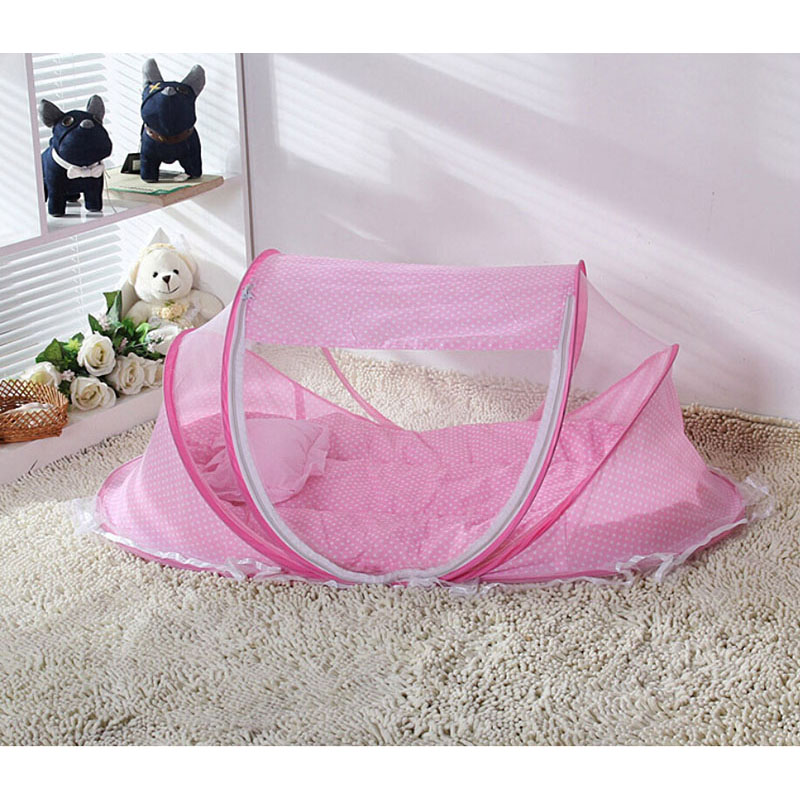 Baby Crib Net Summer Anti-mosquito Netting Folding Bed Kids Sleeping Mat Outdoor Rest Pillow Soft Play Pad 110*65*60cm(China (Mainland))
