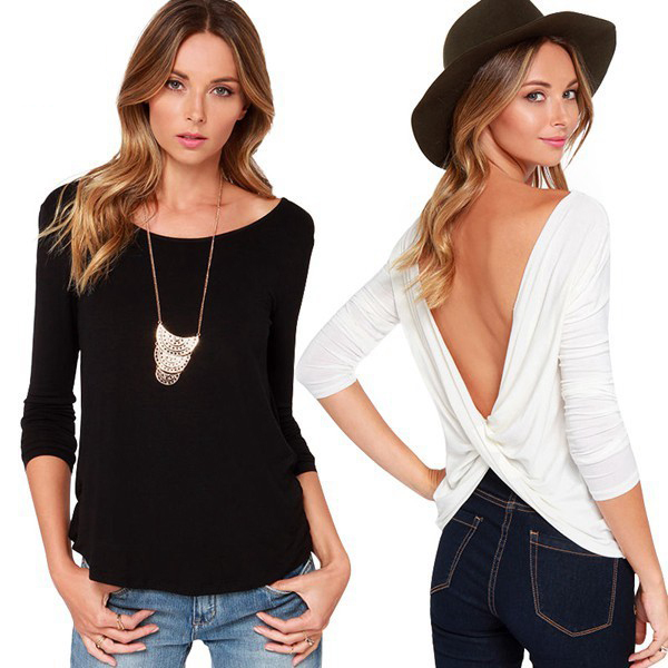 European and American big cross around two sexy fashion women's wear long-sleeved T-shirt listing (China (Mainland))