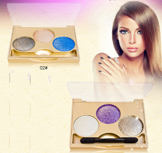 Newest 3 colors professional makeup powder eye shadow palette shimmer eyeshadow for fashion women 1pc/lot(China (Mainland))