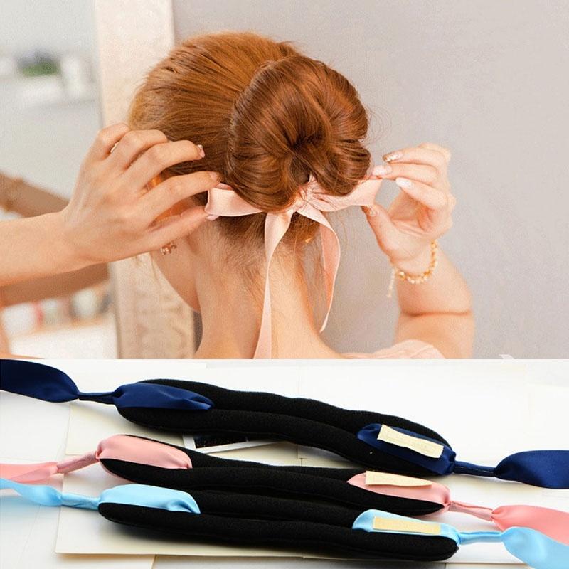 Fashion Magic Tools Foam Sponge Women Hair Bows Band Messy Donut Bun Hairstyle Girl Silk Headband Accessories(China (Mainland))