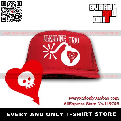 Free Shipping Alkaline Trio Alkaline trio punk band boom bomb skull mesh cap truck caps hats multi-color(China (Mainland))