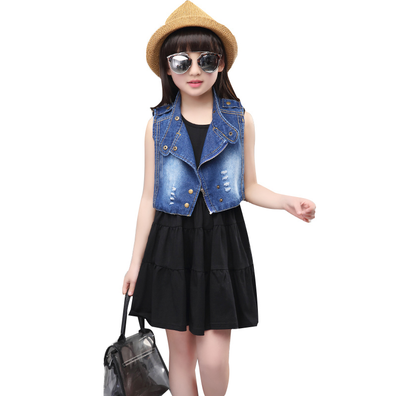 Kids clothes Fashion Summer style 2016 Vest Dresses Baby Girl Outfits Solid Sleeveless Girls Clothing Sets new children dress(China (Mainland))
