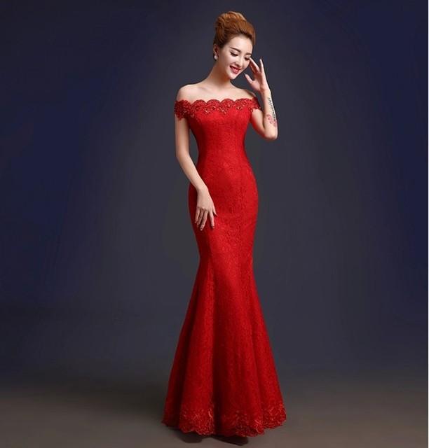 Дешевые элегантный красный кристалл кружева русалка длинные вечерние платья 2016 ...