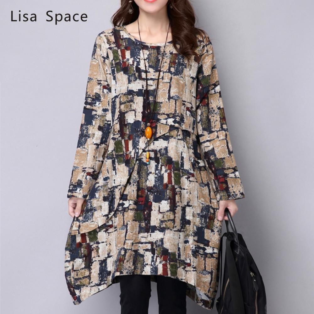 2015 Autumn Fashion Women Clothing Linen Cotton Retro Print Dress Vestidos Irregulares Plus Size Elegant Casual Dresses FemaleОдежда и ак�е��уары<br><br><br>Aliexpress