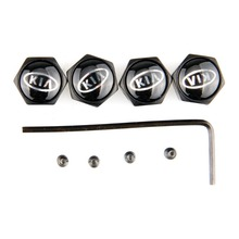 Stainless Steel 4Pces Black Anti Theft Locking Car Wheel Tire Valve Tyre Valve Stem Air Covers Caps for Kia with Car Emblem(China (Mainland))