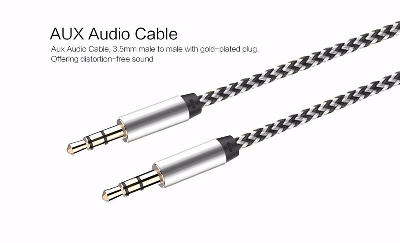 1m Nylon Aux Cable 3.5mm to 3.5 mm Male to Male Jack Auto