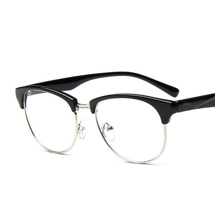 half rim plastic metal gold prescription eyewear oversized women men frame glasses thin leg eyeglass decorative