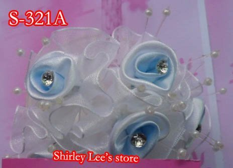 Wholesale--144 BUNCHES=864 Pretty MINI BUNCHES SATIN ROSE W/BEADS SPRAY +RHINESTONE CENTER    * FREE SHIPPING BY EMS*