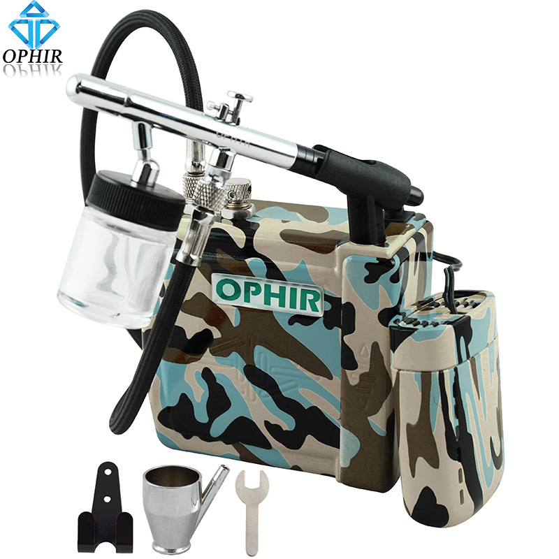 OPHIR 0.35mm Down-Pot Airbrush Kit with Blue Camouflage Mini Air Compressor for Temporary Tattoo/Nail Art/T-Shirt/Model Paint(China (Mainland))