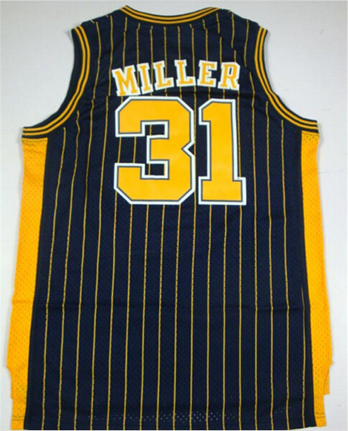 cheap #31 Reggie Miller jersey stitched Indiana retro throwback basketball jerseys Black White Yellow top quality Size S-XXL(China (Mainland))