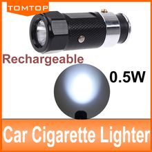 NEW Black Aluminium Body Car Cigarette Lighter LED Flashlight lighting/strobe/SOS Torch Rechargeable Ni-MH battery Built-in(China (Mainland))