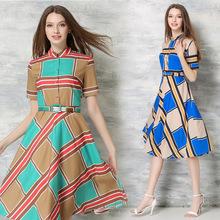 New Fashion Geometric Print Women Dresses Short Sleeve Shirt Dress Summer Knee-length Lady Swing Dresses with Belt