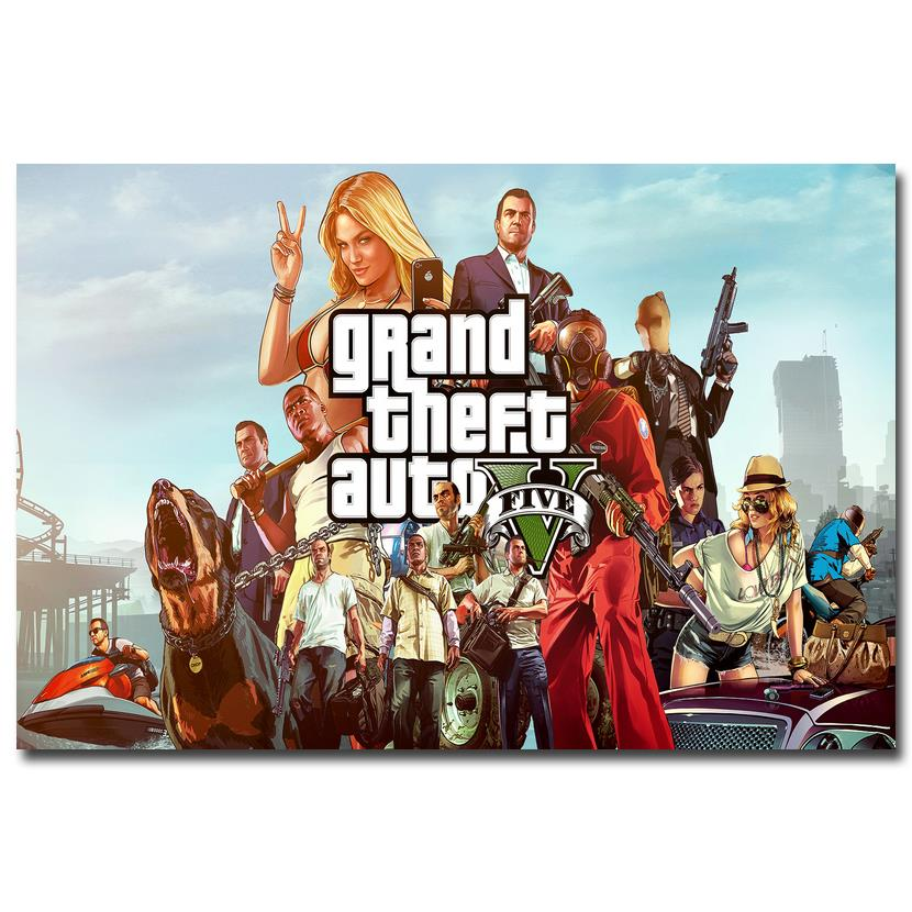 Grand theft auto vart silk fabric poster print 12x18 32x48 for Living room 12x18