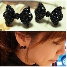 High Quality New Jewerlry Fashion Vintage Full Black Crystal Bow Stud Earrings Retro Gift Wholesale(China (Mainland))