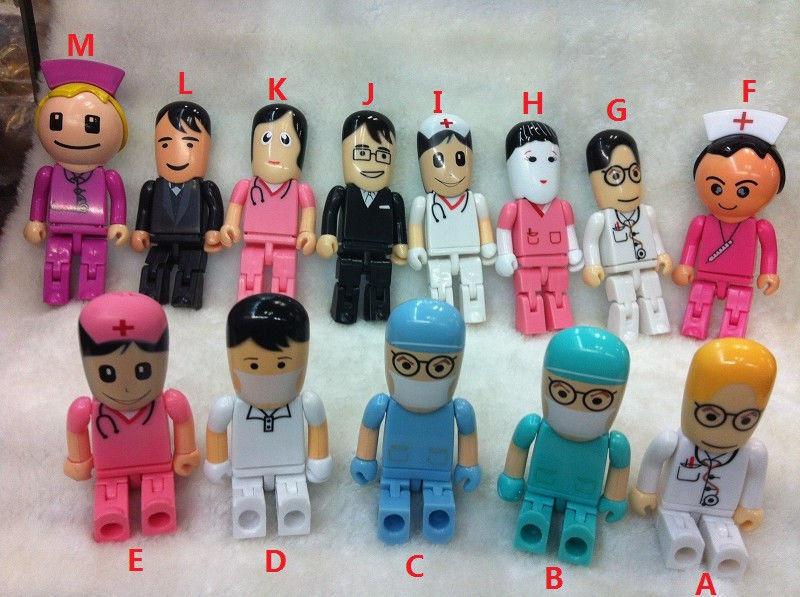 100% Real Cartoon Doctors Nurse model memory stick 2.0 usb flash disk pen drive 4GB 8GB 16GB 32GB Toys gift(China (Mainland))