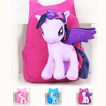 New Brand High Quality Cute 3D My Little Pony Minion Plush Backpack Children's Shoulder Bag Cartoon School Bag for Kids Satchel(China (Mainland))