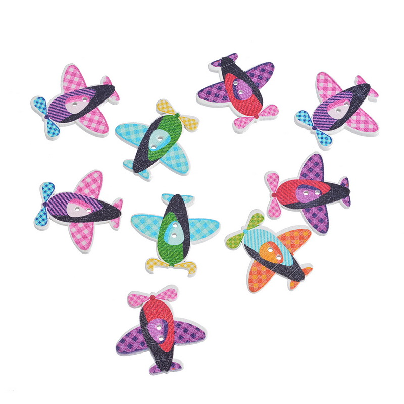30PCs Multicolor font b Tartan b font Design Airplane Helicopter Shape 2 Holes Wood Buttons Fit