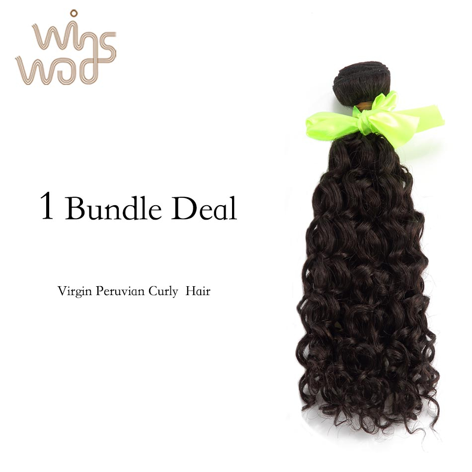 Фотография WoWigs Hair Unprocessed Peruvian Curly Virgin Hair 1Bundle, Natural Color Can Be Dyed, No Tangle